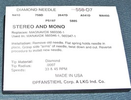 558-D7 PHONOGRAPH RECORD PLAYER NEEDLE for MAGNAVOX 5603471 5603361 MB235 MB351 image 2