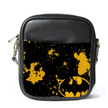 Sling Bag Leather Shoulder Bag Batman Logo In Beautiful Black Yellow Abs... - $14.00
