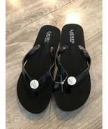 LAUREN RALPH LAUREN Blac Logo Flip Flop Sandals 6B - $23.75