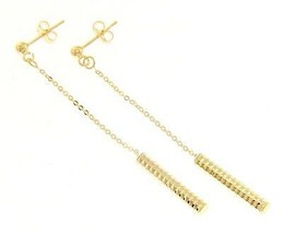 18K YELLOW GOLD CHAIN WORKED TUBE PENDANT EARRINGS 60 MM, 2.4 IN. MADE IN ITALY image 1
