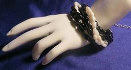 Vintage Gold Tone Black & White Bead 7 Strand Bracelet 7' & Adjustable! - $10.65