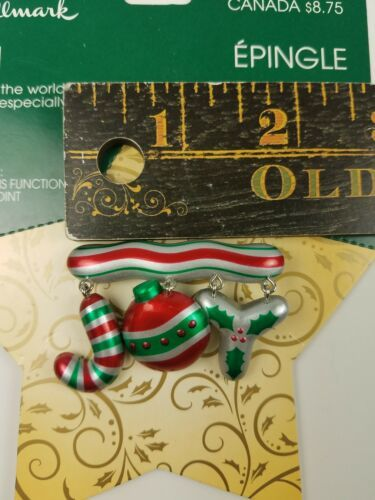 Hallmark Christmas Holiday Pin JOY to the World Red Green image 3