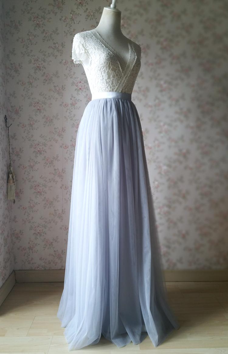 Gray tulle skirt bridesmaid skirt 03
