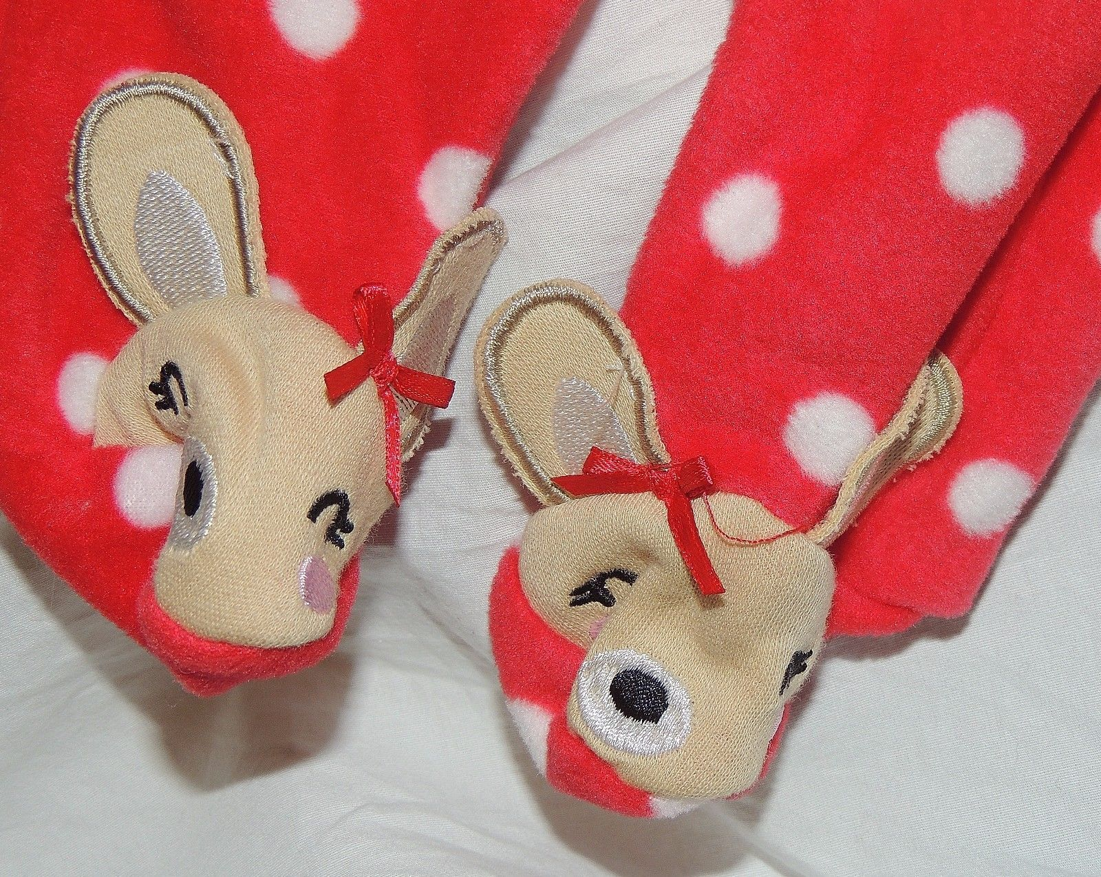 1ee0e7f76f New Baby Girl First Christmas Pajamas w Feet Newborn Reindeer Rudolph  Clarice