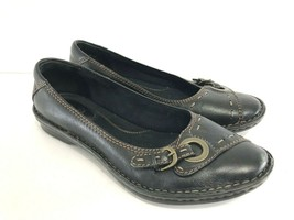 CLARKS Bendables Recent Dutchess Black Leather Flats Women's Size 9M Shoes - $24.75