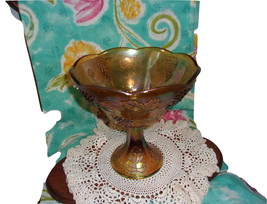 Carnival Glass Compote, Marigold Color Grape and Leaf Pattern - $24.00