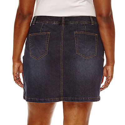 St. John's Bay Denim Skort Dark Wash Easy Fit Sizes 4, 6, 8, 10, 12, 14, 16, 16W