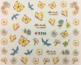 Nail Art 3D Decal Stickers Pale Yellow Flowers & Butterflies Blue Birds ... - $3.19