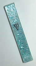 Judaica Mezuzah Case Clear Glass Aqua Bubbles 10 cm Irregular Facet Closed Back