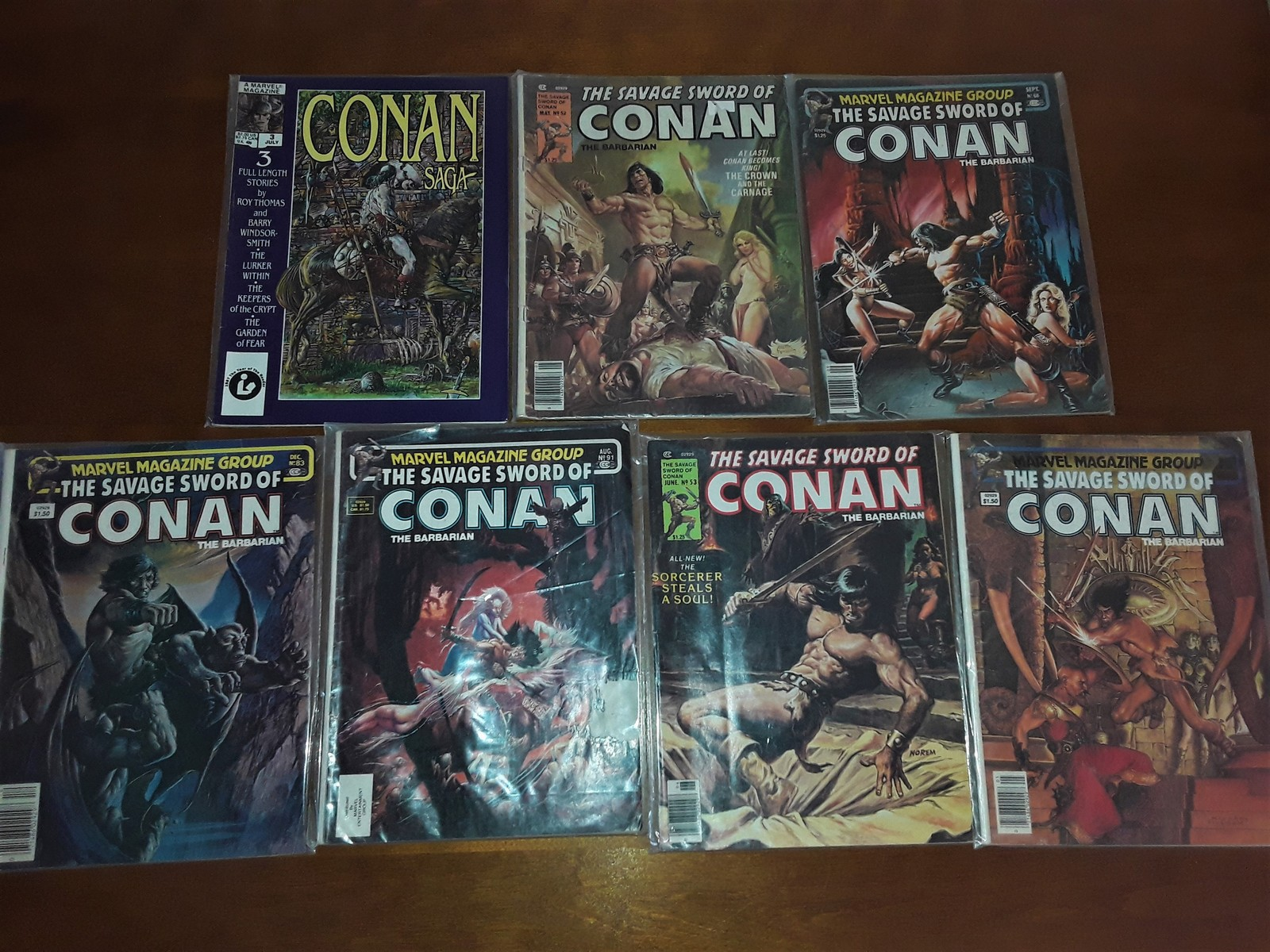 Huge lot of Seven Vintage Savage Sword of Conan Marvel Magazines