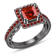 Solitaire With Accents Ring Princess Cut Red Garnet Black Gold Plated 92... - $87.99
