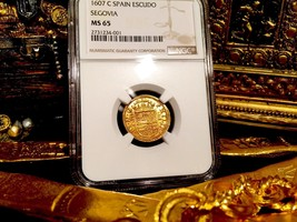 "SPAIN ""FINEST KNOWN of 5"" 1607 1 ESCUDO NGC 65 GOLD DOUBLOON COB TREASUR... - $6,950.00"