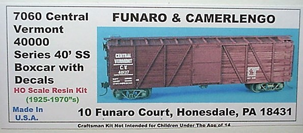 Funaro & Camerlengo HO Central Vermont 40000 Series 40' SS Boxcar Kit 7060