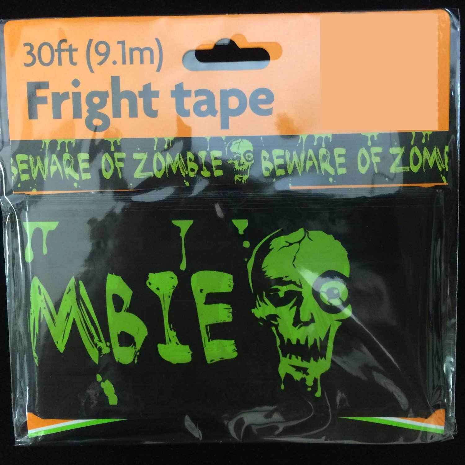 BEWARE-of-ZOMBIES Warning Caution Border Fright Tape Halloween Decoration-30ft