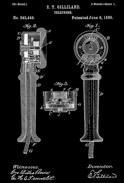 Primary image for 1886 - Telephone - E. T. Gilliland - Patent Art Poster