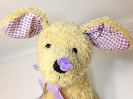 """Bath Body Works Butter Flutter Puppy Dog Tan Plush Purple Butterfly Bow 13"""" TAG - $75.00"""