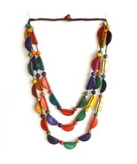REAL COCONUT SHELL NECKLACE,TRIPLE STRINGS MULTICOLOURED HALF MOONS WITH... - $15.13