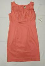 Anne Klein Womens 12 Tailored Shift Dress Papaya/Salmon NWT $139 Classic - $93.56