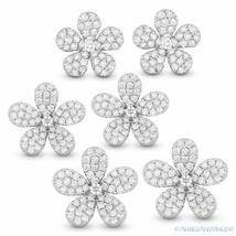 Flower Charm Round Cut Diamond Pave Solid 14k White Gold Earrings w/ Push Backs - $4,039.99