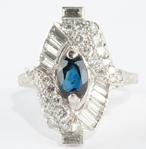Stunning Vintage 1940's 18k White Gold Sapphire & Diamond Cocktail Ring ... - $4,800.00