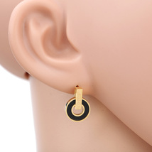 UE- Contemporary Gold Tone Designer Post Earrings With Jet Black Faux Onyx Inlay - $14.99