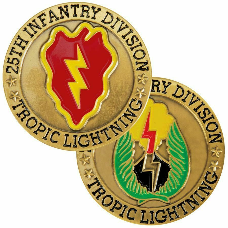 "Primary image for ARMY 25TH INFANTRY DIVISION TROPIC LIGHTNING 1.75"" CHALLENGE COIN"
