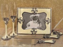 Ivory Fleur De Lis Wedding Accessories Guest Book Pen Flutes Server Set SAVE* - $57.02
