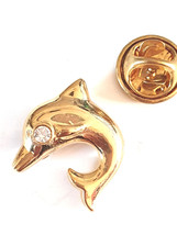 single dolphin with crystal  Badge Lapel /tie Pin Badge  with clip for rear