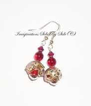Red lampwork Garnet glass Artisan Silver dangle... - $9.95