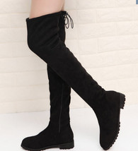 8Cb137 lady's over-the-knee low-heeled boot, stretchable cloth size 5-10, black  - $58.80