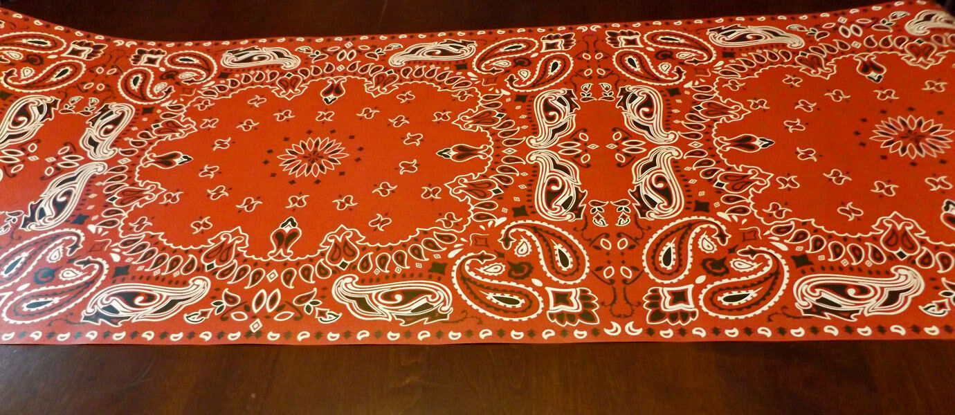 "Cowboy Red Bandana Table Runner for Country Western Parties Weddings 20"" x 25'"