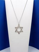 Vintage Estate Diamond Cut Sterling Silver Large STAR OF DAVID Pendant N... - $35.00
