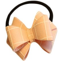 Fashion Hair Bands Bowknot Hair Rope Hair Accessories(Pink Grid)
