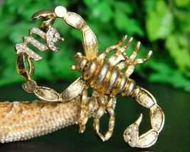 Vintage Scorpio Scorpion Symbol Sign Brooch Pin Rhinestones Book Piece - $32.95