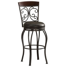 Vintage Leather Seat Swivel Bar Stool High Back Armless Brown Round Chai... - $171.27
