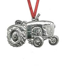 572 Farmer Gardener Tractor Keepsake Christmas Ornament Pewter - $17.12
