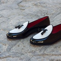 Men's Handmade Black and white Glossy Tasseled Flats Loafers, Men's Flat loafers - $144.99+