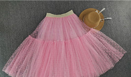 Peach Polka Dot Tulle Skirt Peach Tiered Party Tulle Skirt Holiday Outfit Plus  image 15
