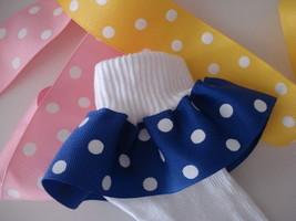 Ruffle Socks Wide Polka  Dot  NAVY / WHITE - PINK / WHITE - YELLOW / WHITE - $6.57