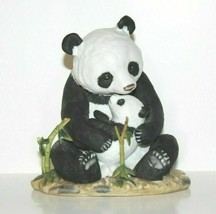 Panda Bear & Cub Homco Home Interiors Masterpiece Porcelain Figure Broke... - $28.49