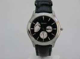 Seiko leather strap classic round case black dial SNT005 - $131.29