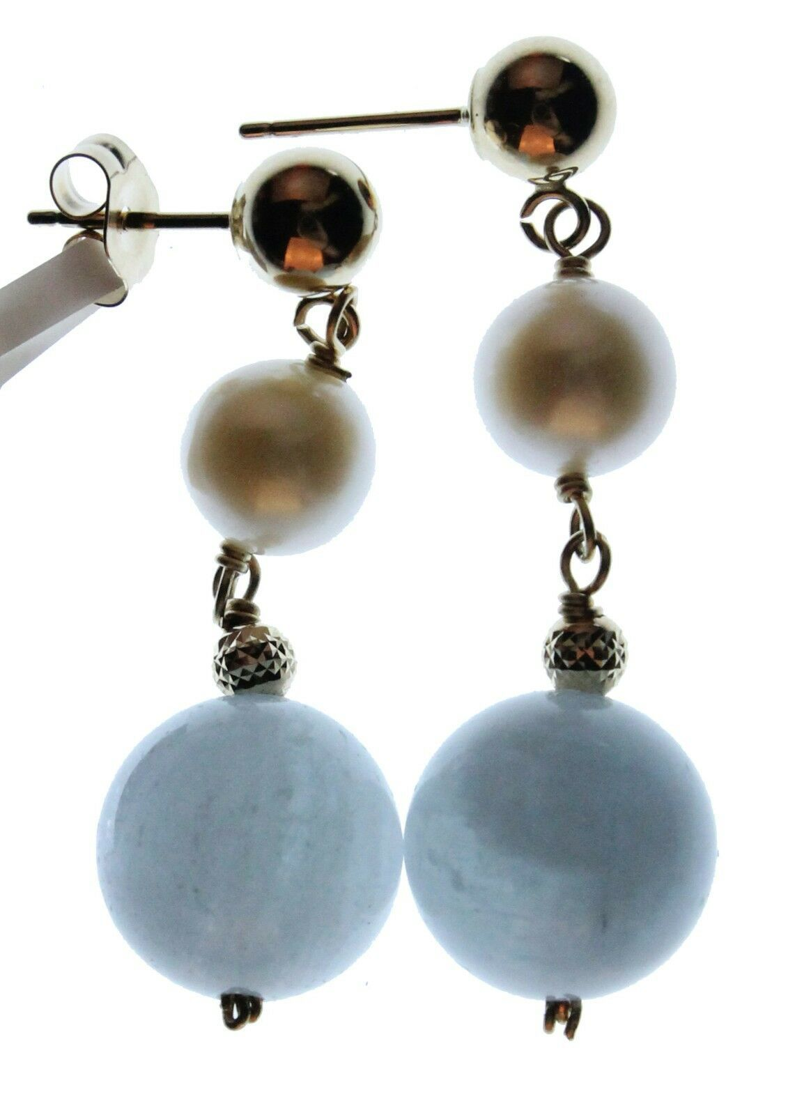 14k Yellow Gold 6mm White Freshwater Cultured Pearl 10mm Aquamarin Drop Earrings