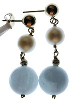 14k Yellow Gold 6mm White Freshwater Cultured Pearl 10mm Aquamarin Drop Earrings image 1