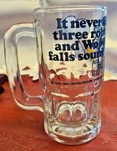 "Vintage SNOOPY Woodstock Peanuts ""Too Much Root Beer"" GLASS DRINKING MUG 1965 image 2"