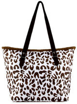 Leopard Print  Paper Straw Shopper Beach Gym Tote Bag Large Handbag Purs... - $17.81
