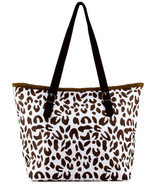 Leopard Print  Paper Straw Shopper Beach Gym Tote Bag Large Handbag Purs... - $23.38 CAD