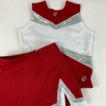 "NEW Cheerleader Uniform Adult Small 34 Top 27"" Skirt Red White Metallic ... - $41.87"