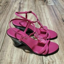 Nine West Pink Fuchsia Wedge Strappy Sandals Womens Size 9.5 - $24.75