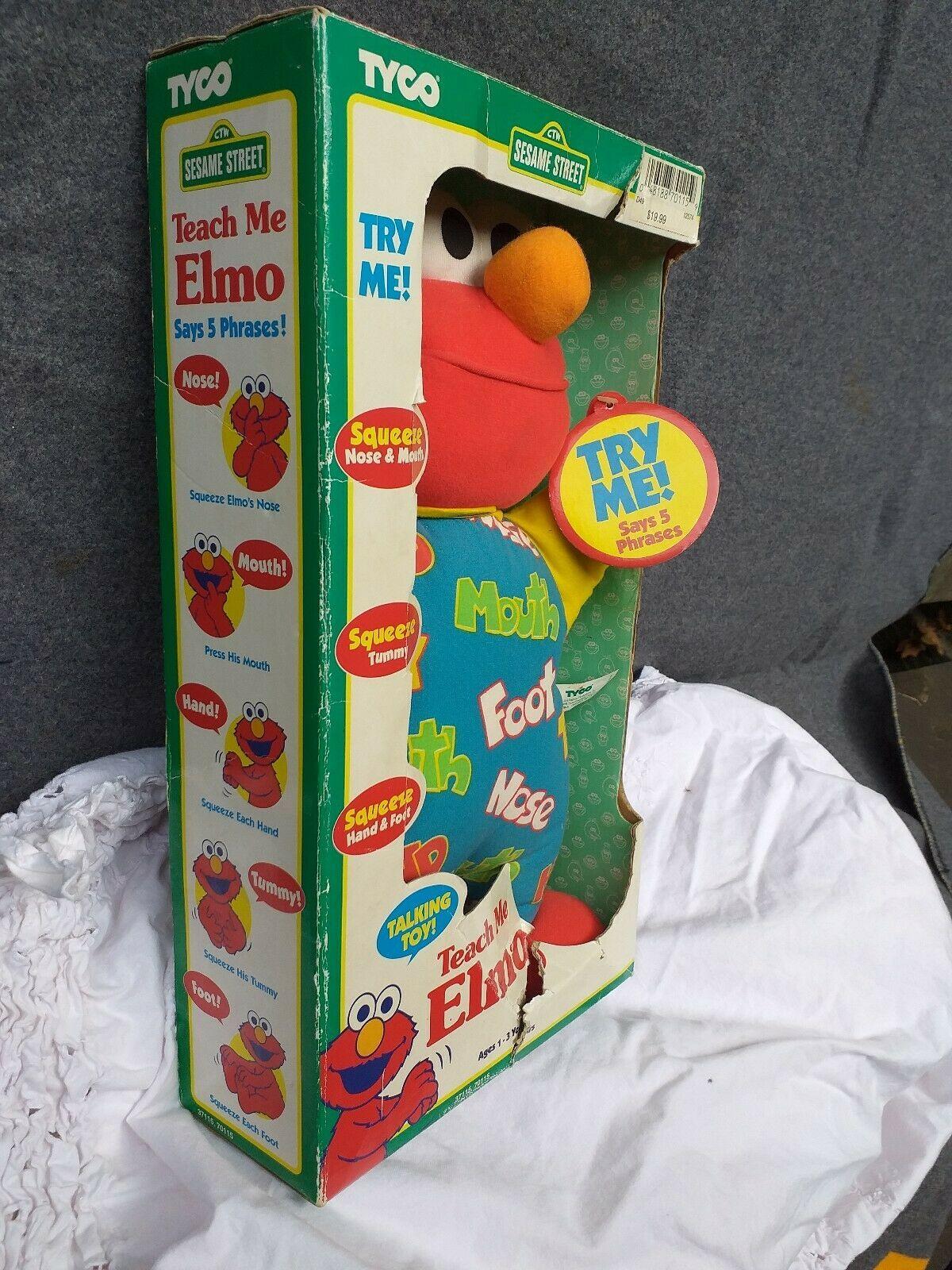 New Box Vintage Teach Me Elmo Original 90's 1996 Tyco Plush Doll Sesame Street image 4