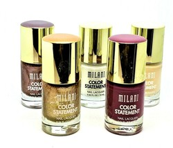 Lot of 5 New Milani Color Statement Nail Lacquer Polish 5 Different Colo... - $12.19